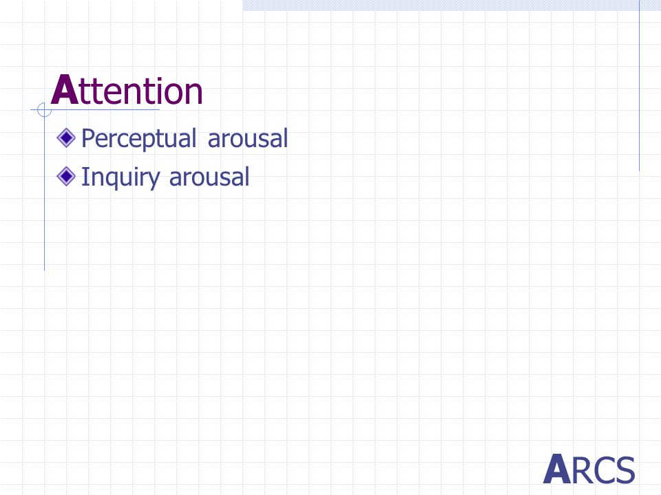 A ttention Perceptual arousal A RCS Inquiry arousal