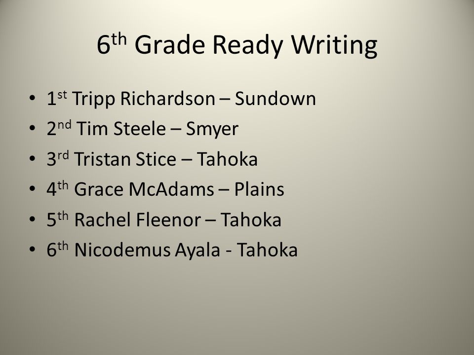 6 th Grade Ready Writing 1 st Tripp Richardson – Sundown 2 nd Tim Steele – Smyer 3 rd Tristan Stice – Tahoka 4 th Grace McAdams – Plains 5 th Rachel Fleenor – Tahoka 6 th Nicodemus Ayala - Tahoka
