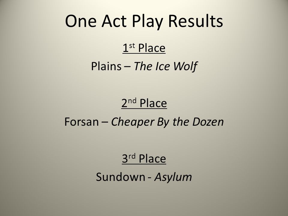 One Act Play Results 1 st Place Plains – The Ice Wolf 2 nd Place Forsan – Cheaper By the Dozen 3 rd Place Sundown - Asylum