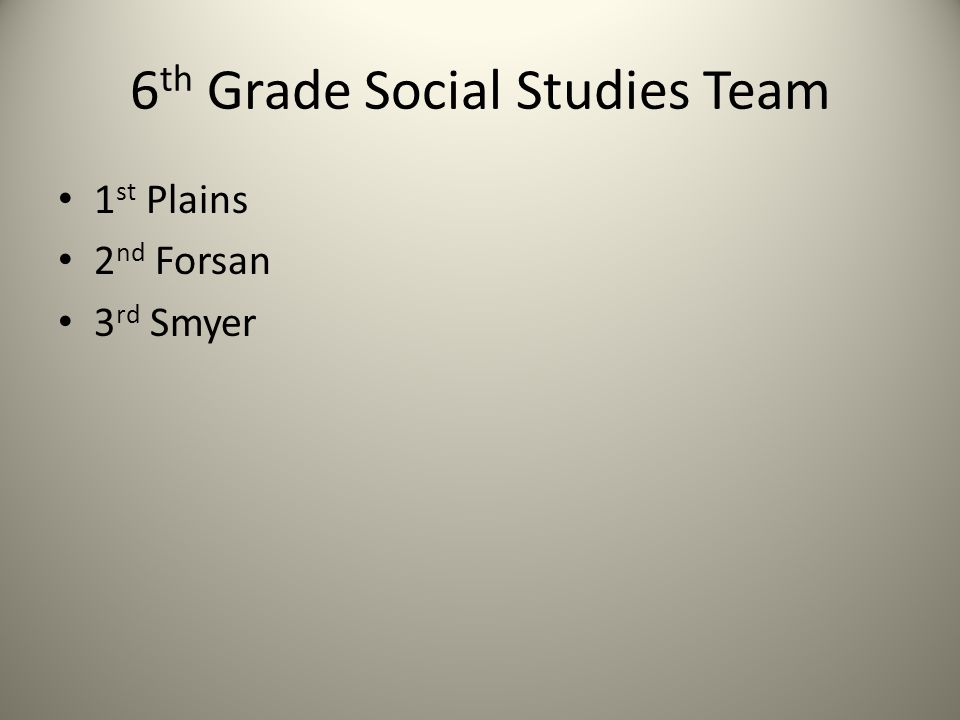 6 th Grade Social Studies Team 1 st Plains 2 nd Forsan 3 rd Smyer