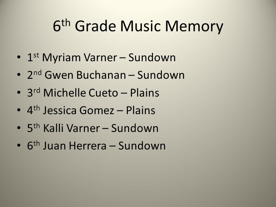 6 th Grade Music Memory 1 st Myriam Varner – Sundown 2 nd Gwen Buchanan – Sundown 3 rd Michelle Cueto – Plains 4 th Jessica Gomez – Plains 5 th Kalli Varner – Sundown 6 th Juan Herrera – Sundown