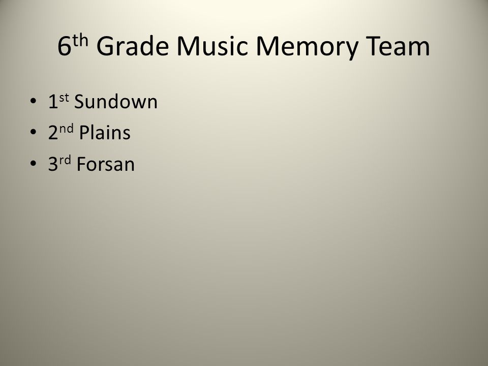6 th Grade Music Memory Team 1 st Sundown 2 nd Plains 3 rd Forsan