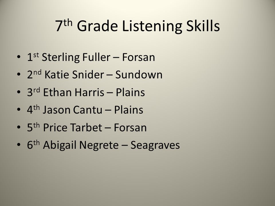 7 th Grade Listening Skills 1 st Sterling Fuller – Forsan 2 nd Katie Snider – Sundown 3 rd Ethan Harris – Plains 4 th Jason Cantu – Plains 5 th Price