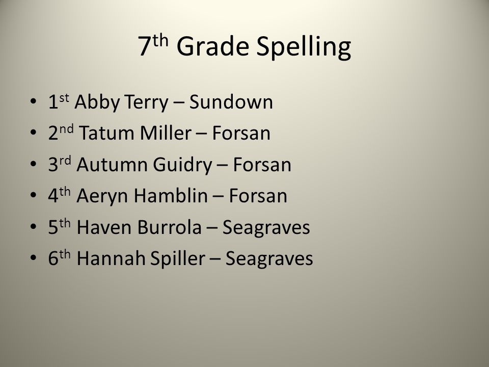7 th Grade Spelling 1 st Abby Terry – Sundown 2 nd Tatum Miller – Forsan 3 rd Autumn Guidry – Forsan 4 th Aeryn Hamblin – Forsan 5 th Haven Burrola –