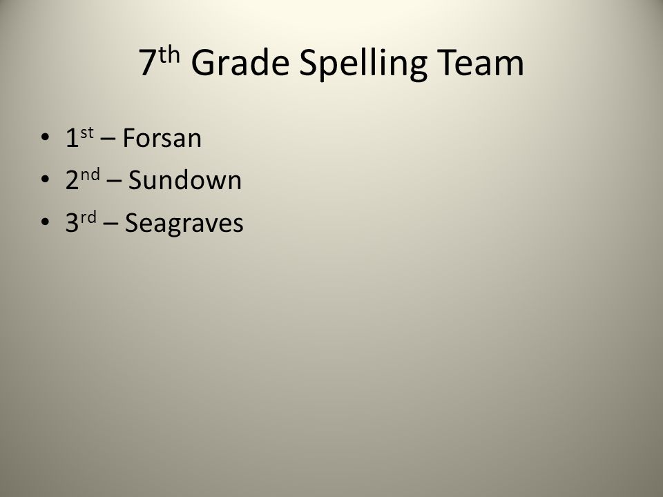 7 th Grade Spelling Team 1 st – Forsan 2 nd – Sundown 3 rd – Seagraves