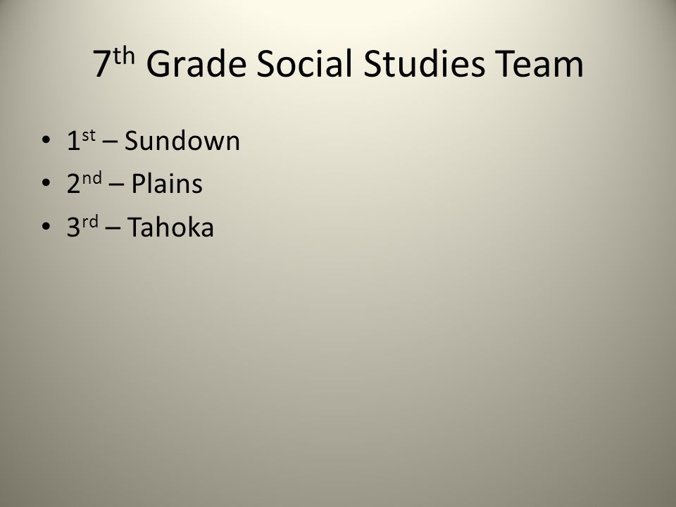 7 th Grade Social Studies Team 1 st – Sundown 2 nd – Plains 3 rd – Tahoka