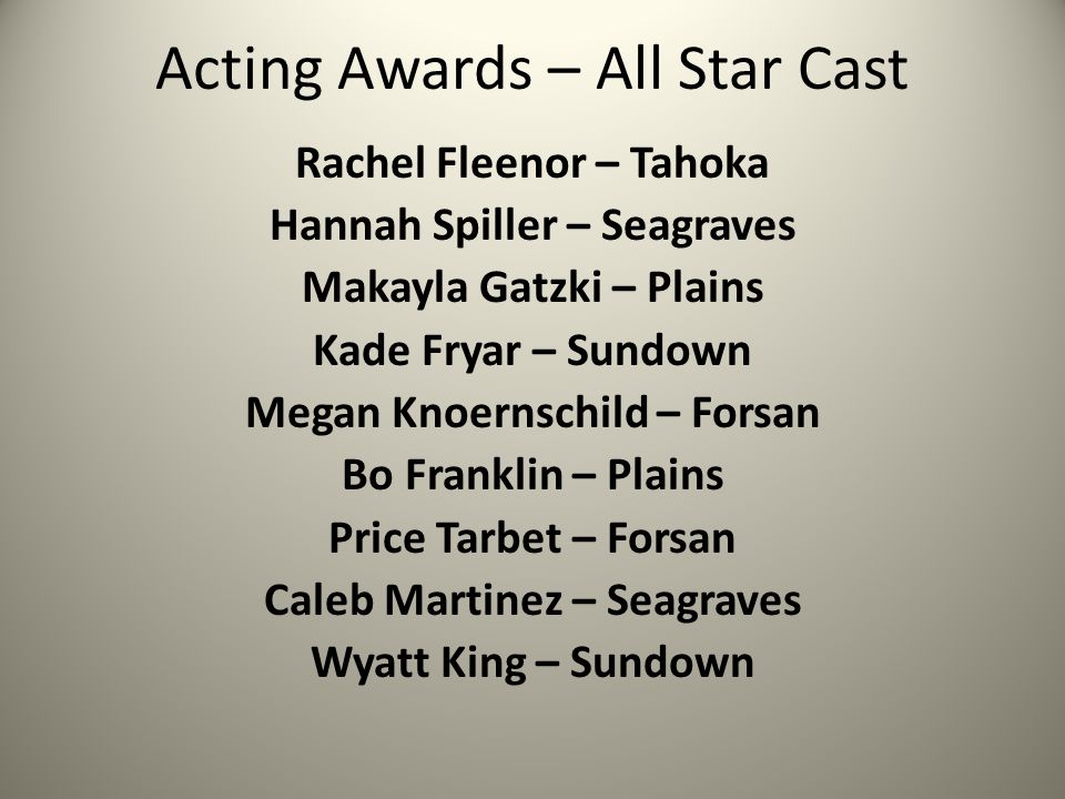 Acting Awards – All Star Cast Rachel Fleenor – Tahoka Hannah Spiller – Seagraves Makayla Gatzki – Plains Kade Fryar – Sundown Megan Knoernschild – Forsan Bo Franklin – Plains Price Tarbet – Forsan Caleb Martinez – Seagraves Wyatt King – Sundown