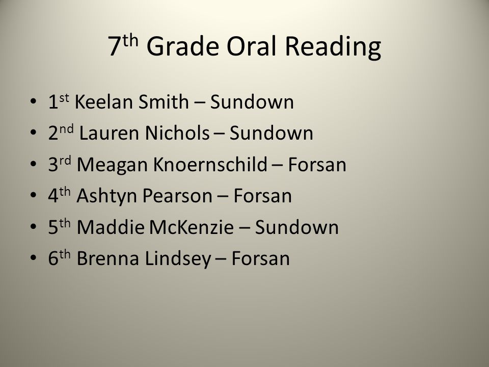 7 th Grade Oral Reading 1 st Keelan Smith – Sundown 2 nd Lauren Nichols – Sundown 3 rd Meagan Knoernschild – Forsan 4 th Ashtyn Pearson – Forsan 5 th Maddie McKenzie – Sundown 6 th Brenna Lindsey – Forsan