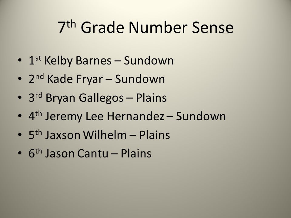 7 th Grade Number Sense 1 st Kelby Barnes – Sundown 2 nd Kade Fryar – Sundown 3 rd Bryan Gallegos – Plains 4 th Jeremy Lee Hernandez – Sundown 5 th Jaxson Wilhelm – Plains 6 th Jason Cantu – Plains
