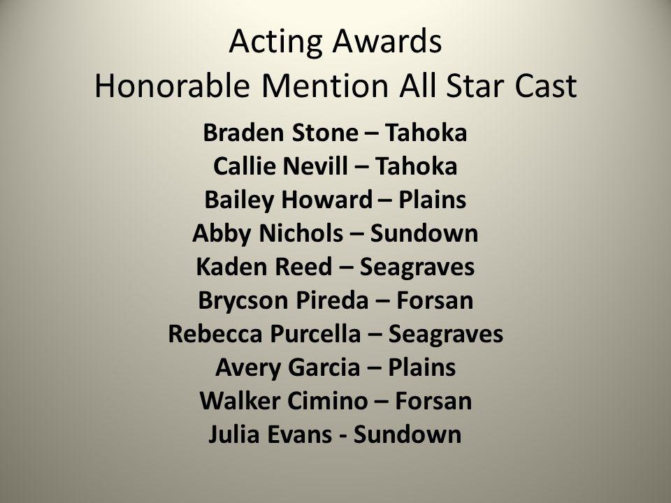 Acting Awards Honorable Mention All Star Cast Braden Stone – Tahoka Callie Nevill – Tahoka Bailey Howard – Plains Abby Nichols – Sundown Kaden Reed –