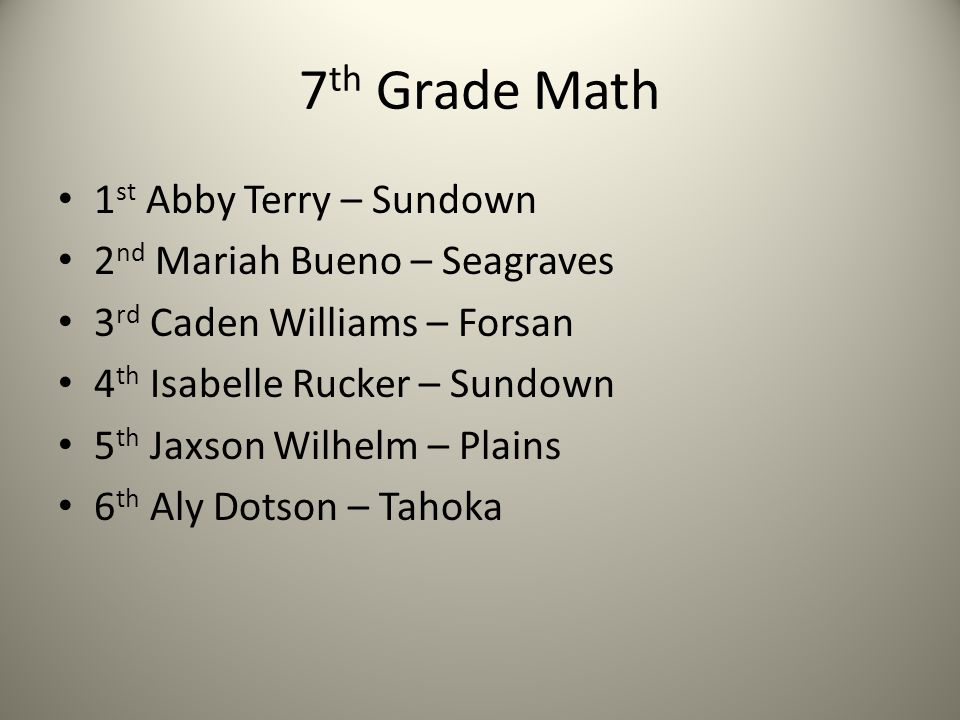 7 th Grade Math 1 st Abby Terry – Sundown 2 nd Mariah Bueno – Seagraves 3 rd Caden Williams – Forsan 4 th Isabelle Rucker – Sundown 5 th Jaxson Wilhelm – Plains 6 th Aly Dotson – Tahoka