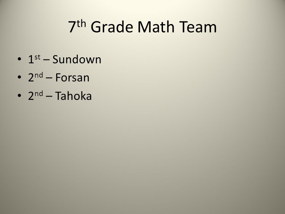 7 th Grade Math Team 1 st – Sundown 2 nd – Forsan 2 nd – Tahoka