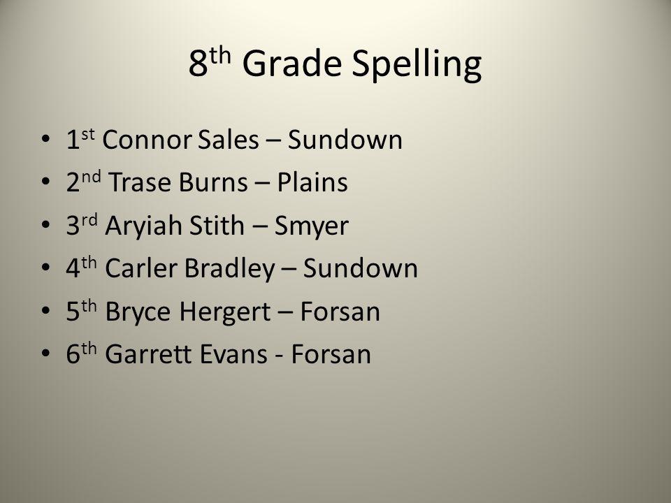 8 th Grade Spelling 1 st Connor Sales – Sundown 2 nd Trase Burns – Plains 3 rd Aryiah Stith – Smyer 4 th Carler Bradley – Sundown 5 th Bryce Hergert –