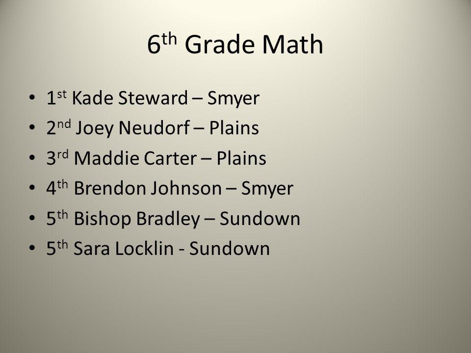6 th Grade Math 1 st Kade Steward – Smyer 2 nd Joey Neudorf – Plains 3 rd Maddie Carter – Plains 4 th Brendon Johnson – Smyer 5 th Bishop Bradley – Su