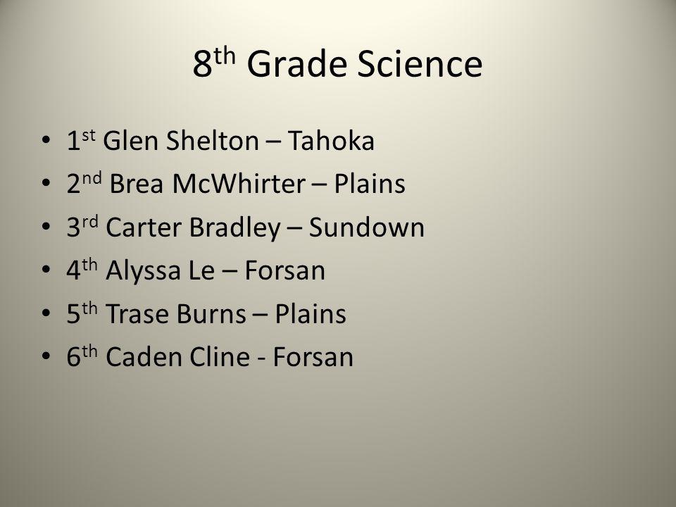 8 th Grade Science 1 st Glen Shelton – Tahoka 2 nd Brea McWhirter – Plains 3 rd Carter Bradley – Sundown 4 th Alyssa Le – Forsan 5 th Trase Burns – Pl