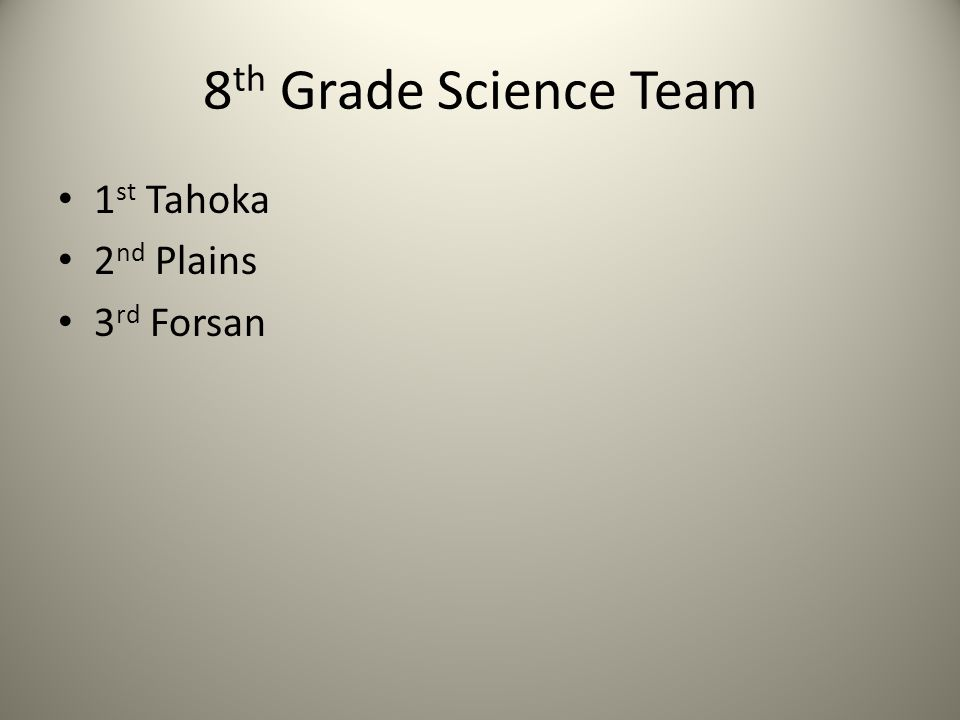 8 th Grade Science Team 1 st Tahoka 2 nd Plains 3 rd Forsan
