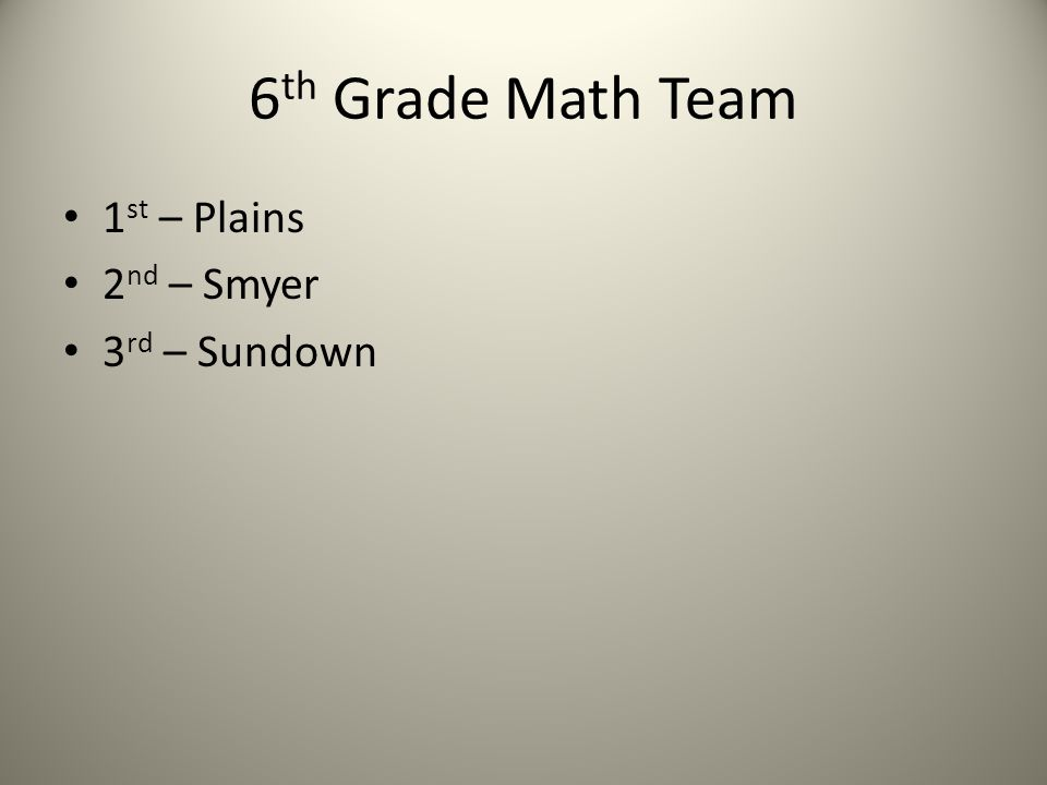 6 th Grade Math Team 1 st – Plains 2 nd – Smyer 3 rd – Sundown