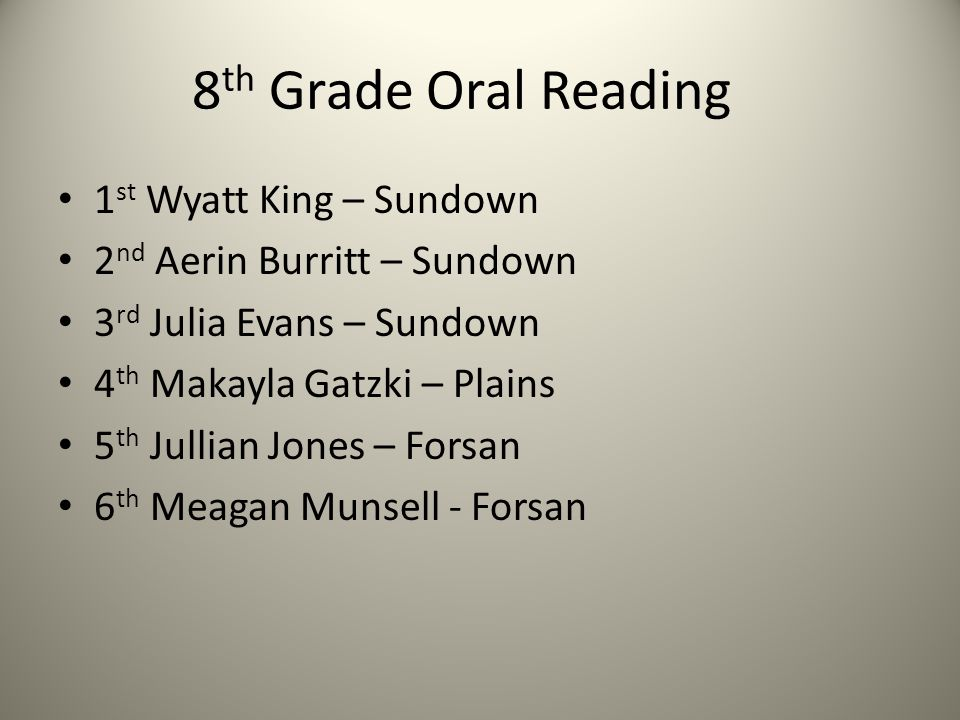 8 th Grade Oral Reading 1 st Wyatt King – Sundown 2 nd Aerin Burritt – Sundown 3 rd Julia Evans – Sundown 4 th Makayla Gatzki – Plains 5 th Jullian Jo