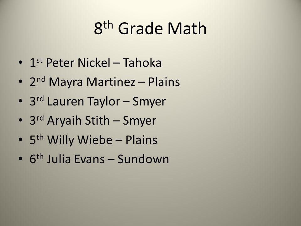 8 th Grade Math 1 st Peter Nickel – Tahoka 2 nd Mayra Martinez – Plains 3 rd Lauren Taylor – Smyer 3 rd Aryaih Stith – Smyer 5 th Willy Wiebe – Plains