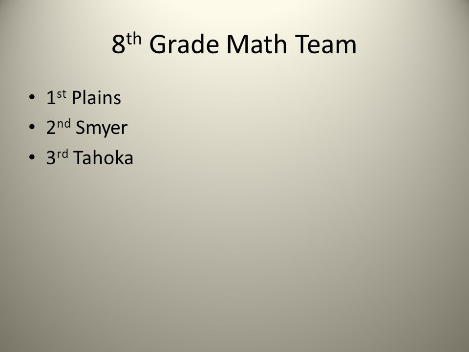 8 th Grade Math Team 1 st Plains 2 nd Smyer 3 rd Tahoka