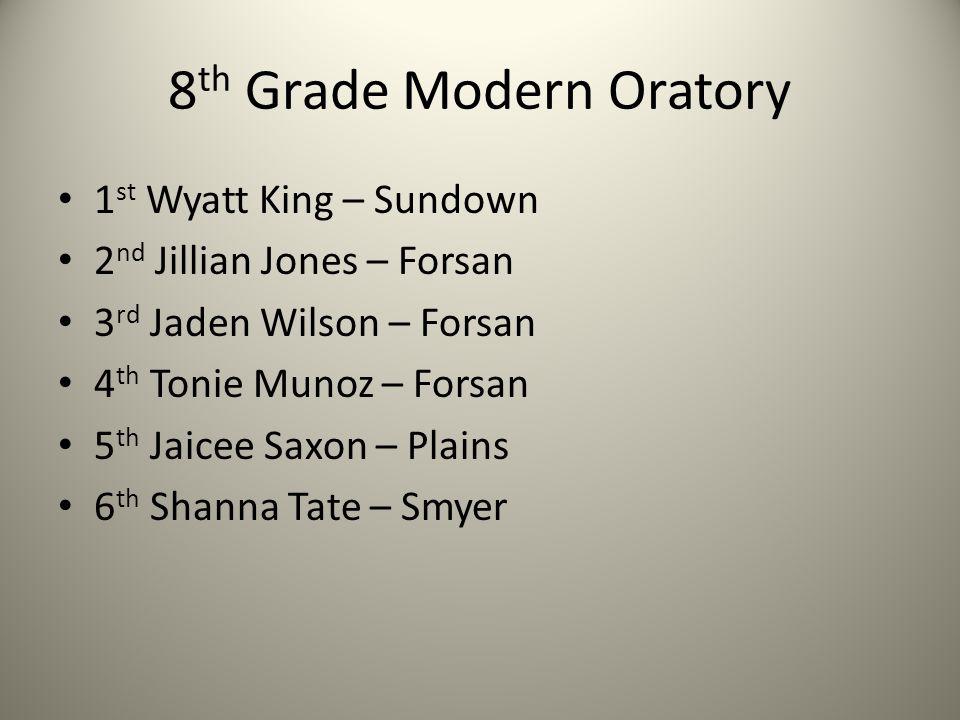 8 th Grade Modern Oratory 1 st Wyatt King – Sundown 2 nd Jillian Jones – Forsan 3 rd Jaden Wilson – Forsan 4 th Tonie Munoz – Forsan 5 th Jaicee Saxon