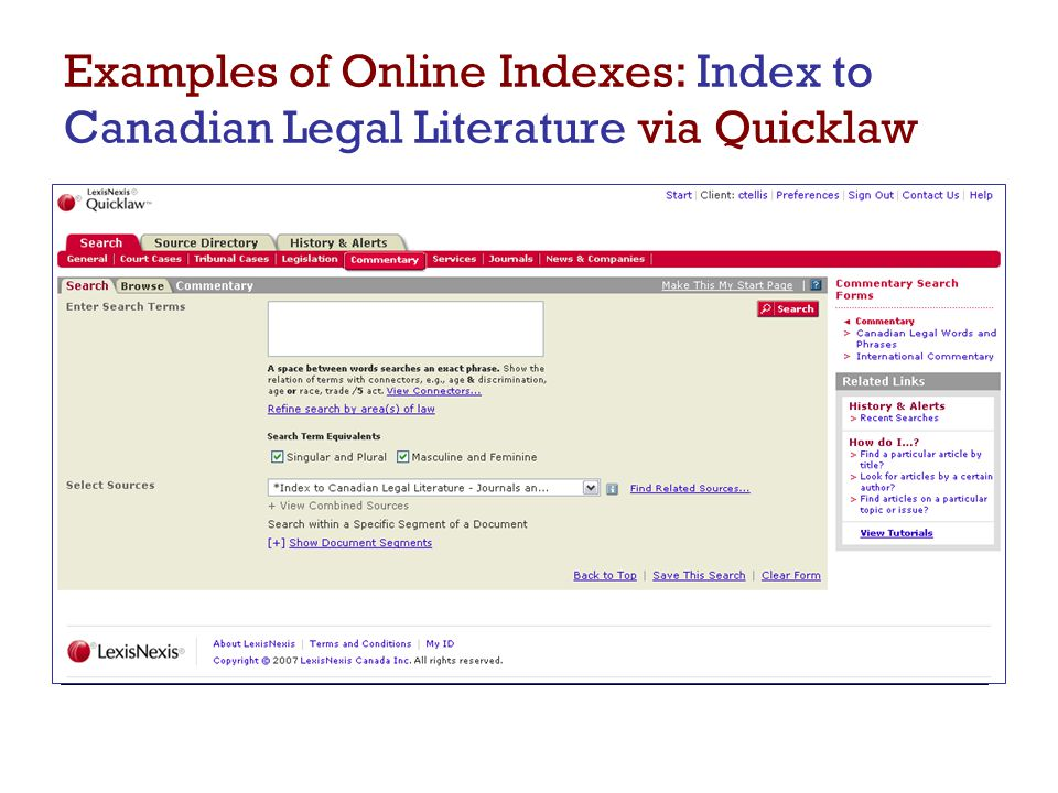 Examples of Online Indexes: Index to Canadian Legal Literature via Quicklaw  Search for a Source in the Source Directory
