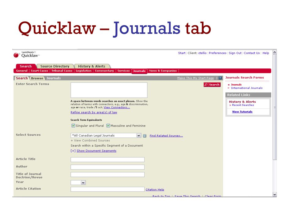 Quicklaw – Journals tab  Default is All Canadian Legal Journals  contains the full text of all academic journals (Eng.
