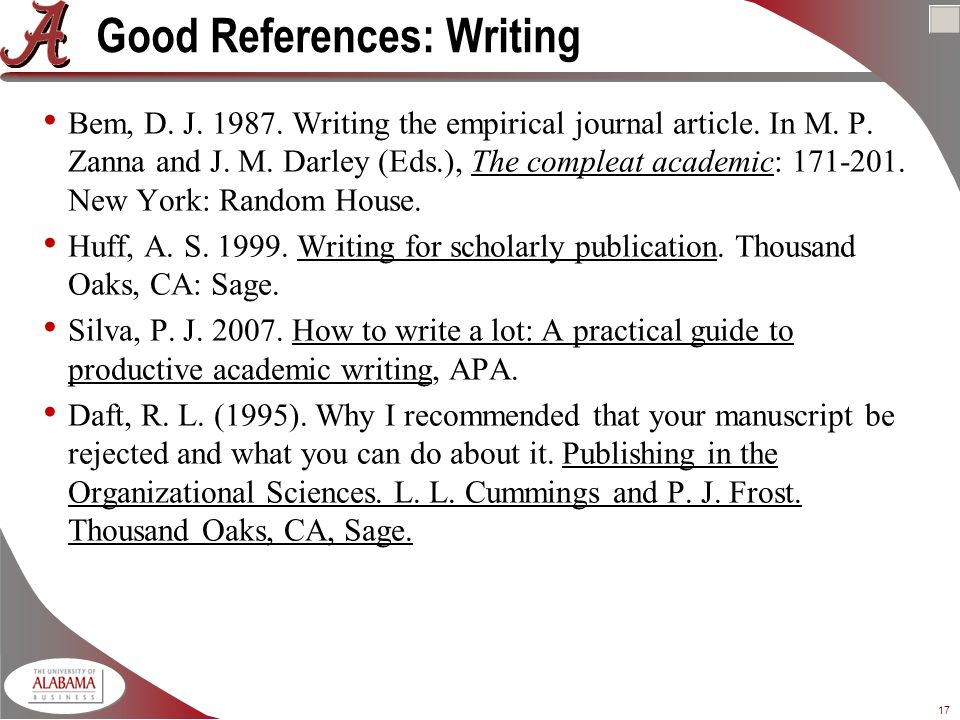 17 Good References: Writing Bem, D. J Writing the empirical journal article.