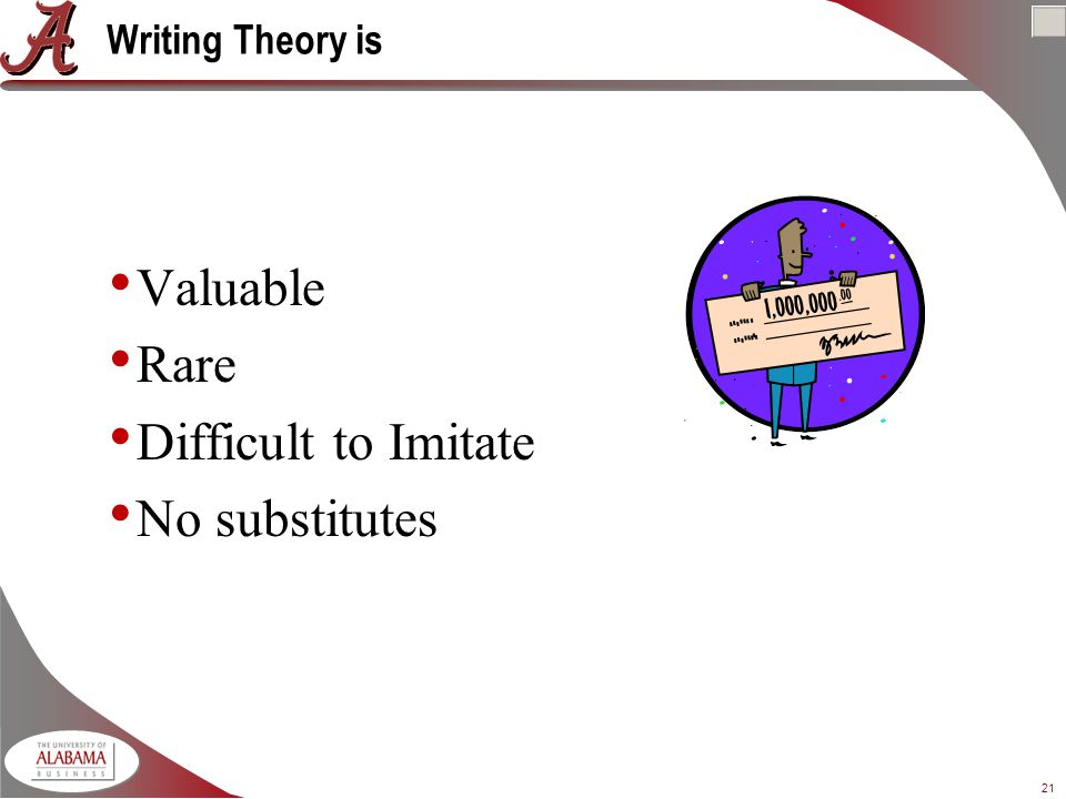 21 Writing Theory is Valuable Rare Difficult to Imitate No substitutes