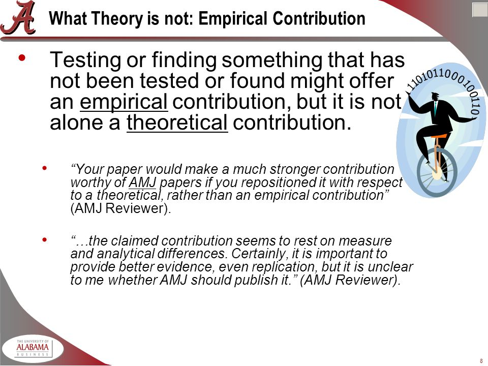 8 What Theory is not: Empirical Contribution Testing or finding something that has not been tested or found might offer an empirical contribution, but it is not alone a theoretical contribution.