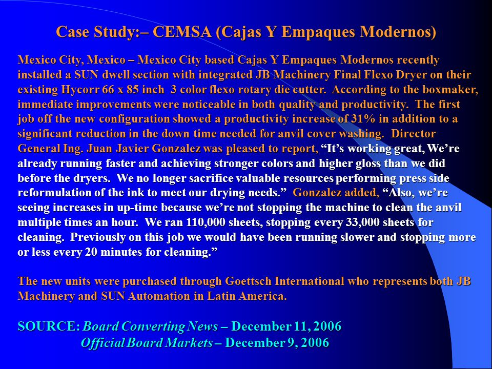 Case Study:– CEMSA (Cajas Y Empaques Modernos) Mexico City, Mexico – Mexico City based Cajas Y Empaques Modernos recently installed a SUN dwell sectio