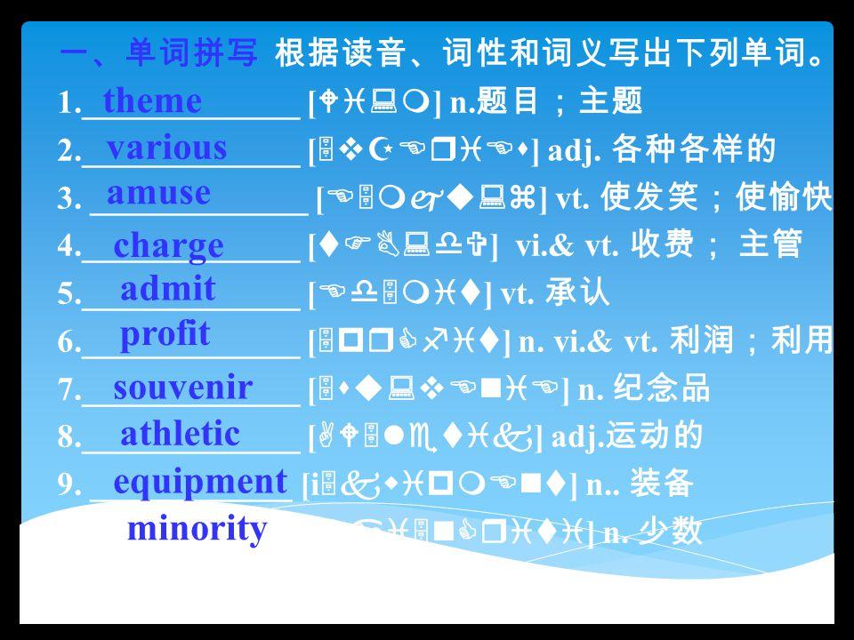 一、单词拼写 根据读音、词性和词义写出下列单词。 1._____________ [ Wi:m ] n. 题目;主题 2._____________ [ 5vZEriEs ] adj. 各种各样的 3. _____________ [ E5mju:z ] vt. 使发笑;使愉快 4.________