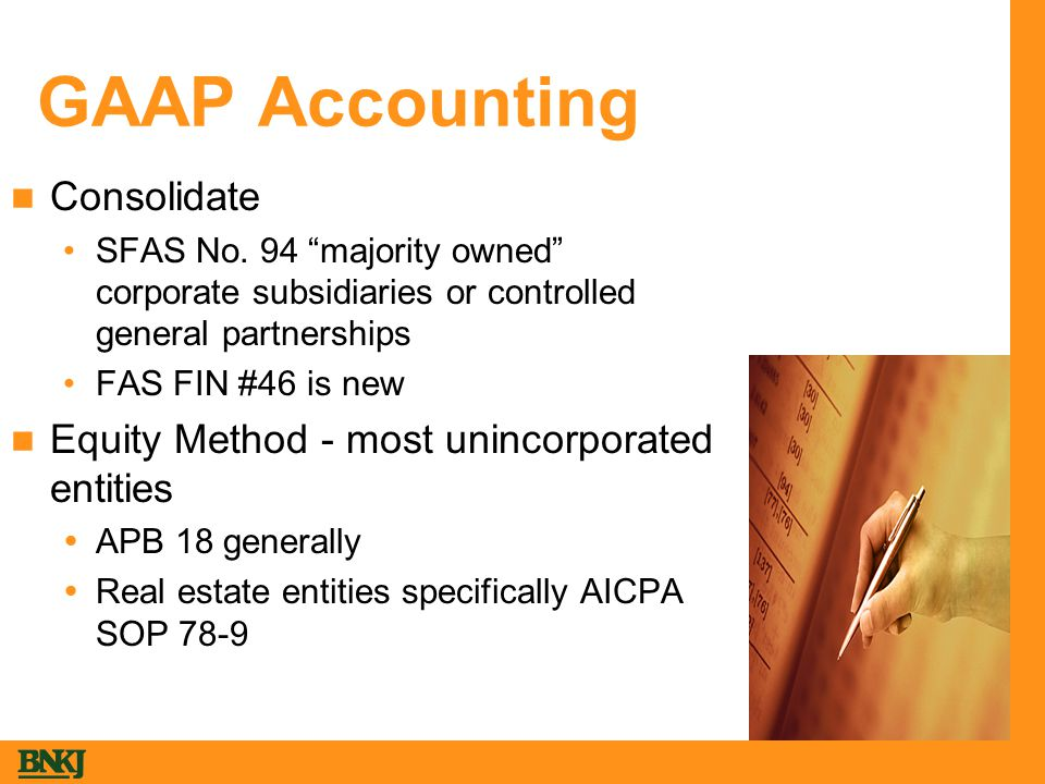 GAAP Accounting Consolidate SFAS No.