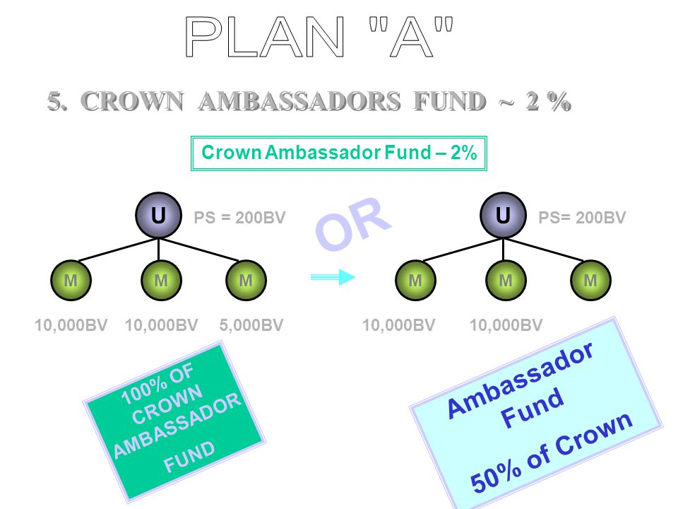 4. CROWN MANAGER FUND ~ 1% U MMM Crown Manager Qualifier PGBV = 400 10,000BV 5,000BV U MMM PGBV = 400 10,000BV 100% OF CROWN FUND OR 2/3 rd of Crown F