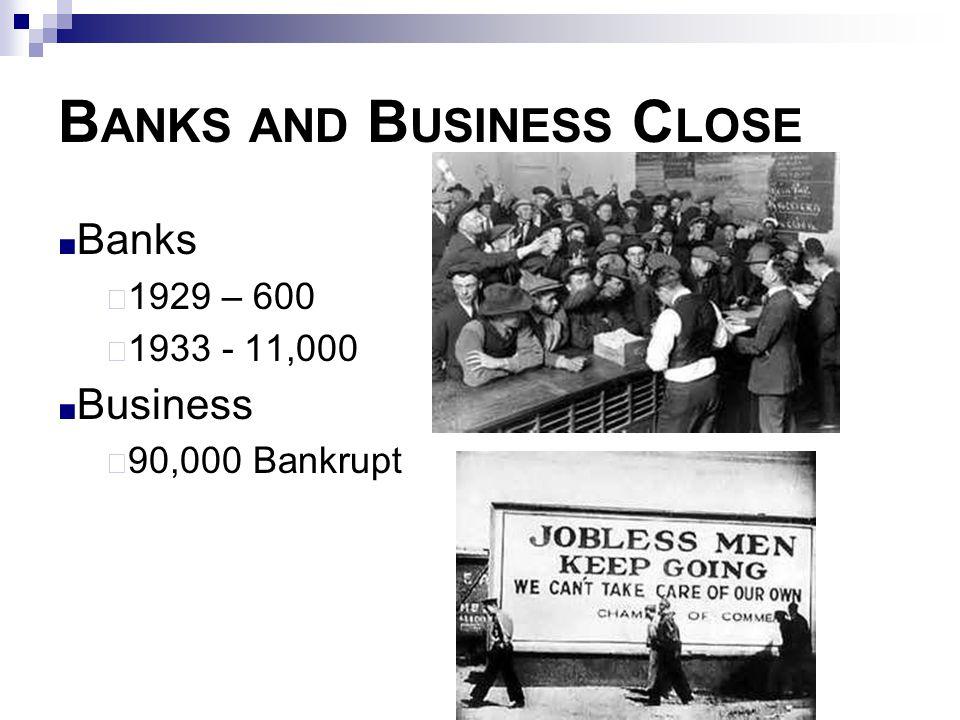 B ANKS AND B USINESS C LOSE ■ Banks  1929 – 600  1933 - 11,000 ■ Business  90,000 Bankrupt