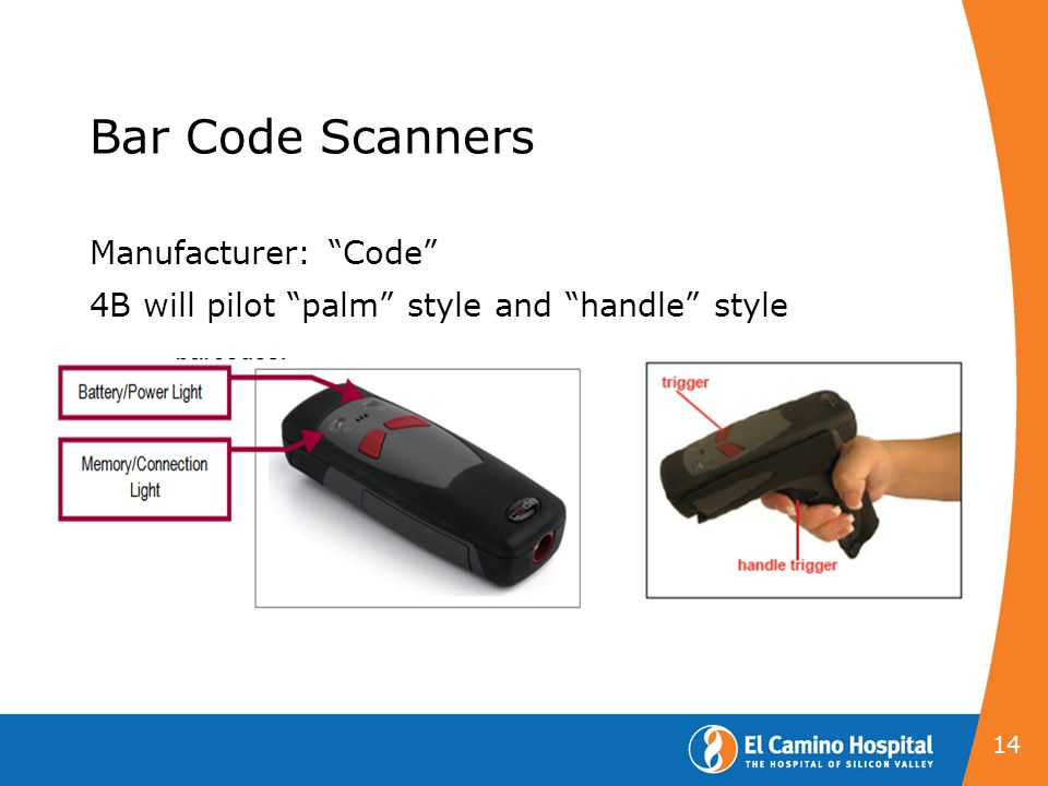 Bar Code Scanners Manufacturer: Code 4B will pilot palm style and handle style 14