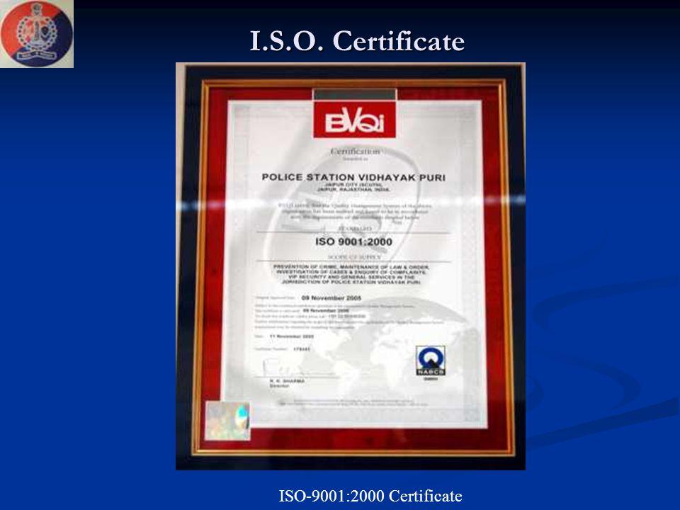 I.S.O. Certificate ISO-9001:2000 Certificate