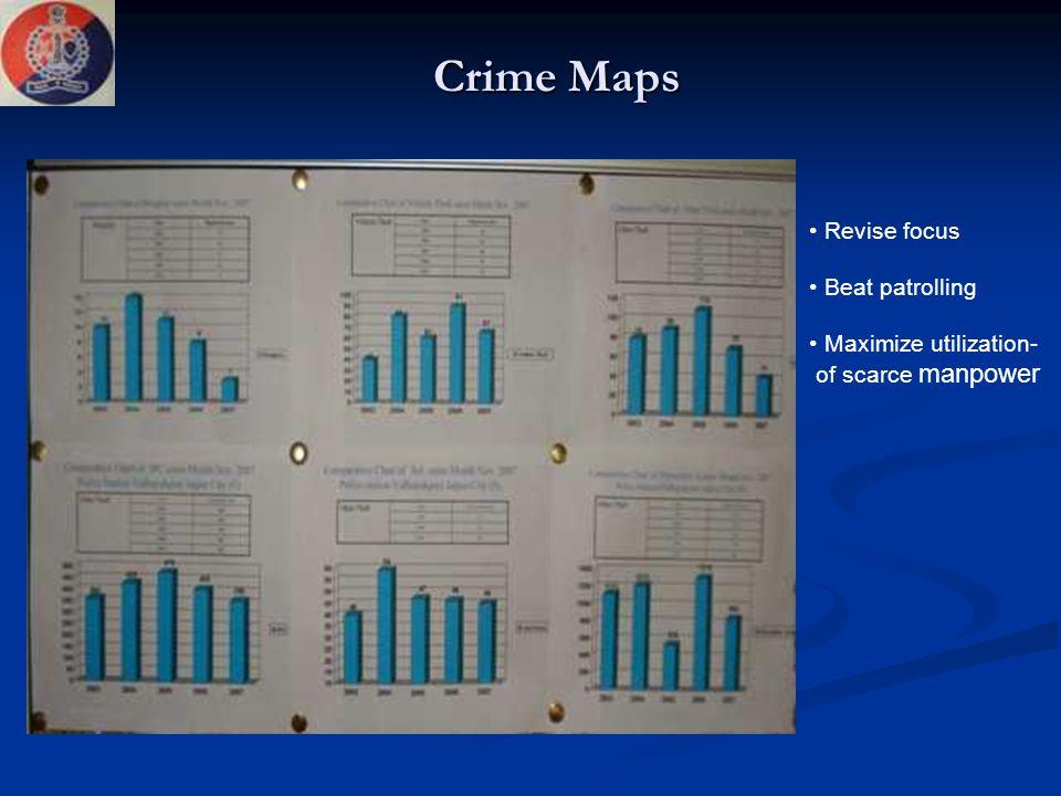 Crime Maps Revise focus Beat patrolling Maximize utilization- of scarce manpower