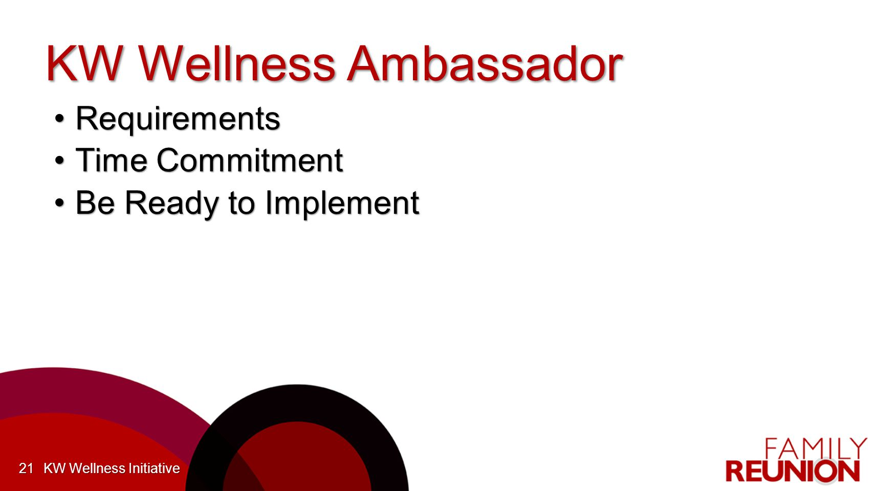 KW Wellness Ambassador RequirementsRequirements Time CommitmentTime Commitment Be Ready to ImplementBe Ready to Implement KW Wellness Initiative21