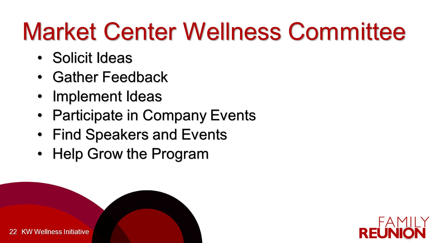 Market Center Wellness Committee Solicit IdeasSolicit Ideas Gather FeedbackGather Feedback Implement IdeasImplement Ideas Participate in Company EventsParticipate in Company Events Find Speakers and EventsFind Speakers and Events Help Grow the ProgramHelp Grow the Program KW Wellness Initiative22