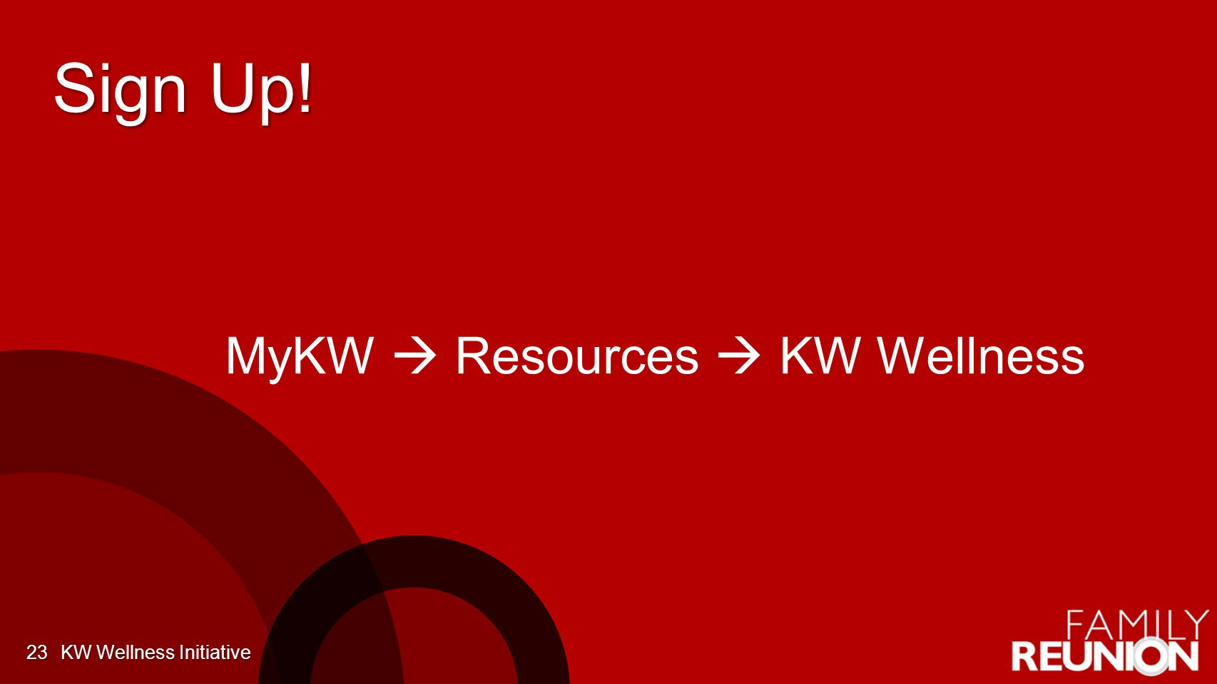 Sign Up! KW Wellness Initiative23 MyKW  Resources  KW Wellness