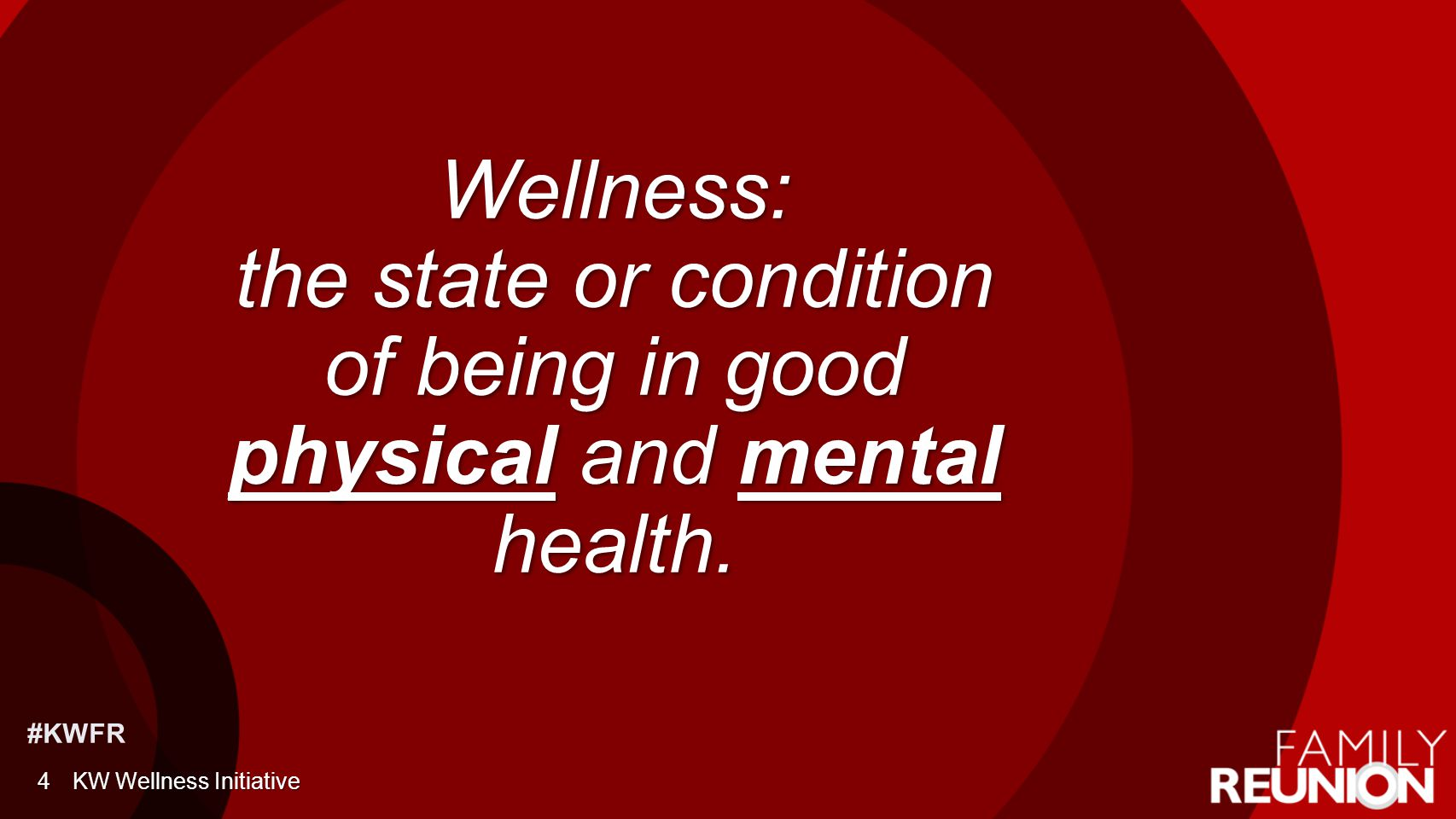Holistic View of Wellness PhysicalPhysical EmotionalEmotional IntellectualIntellectual FinancialFinancial 5 OccupationalOccupational SpiritualSpiritual SocialSocial EnvironmentalEnvironmental KW Wellness Initiative
