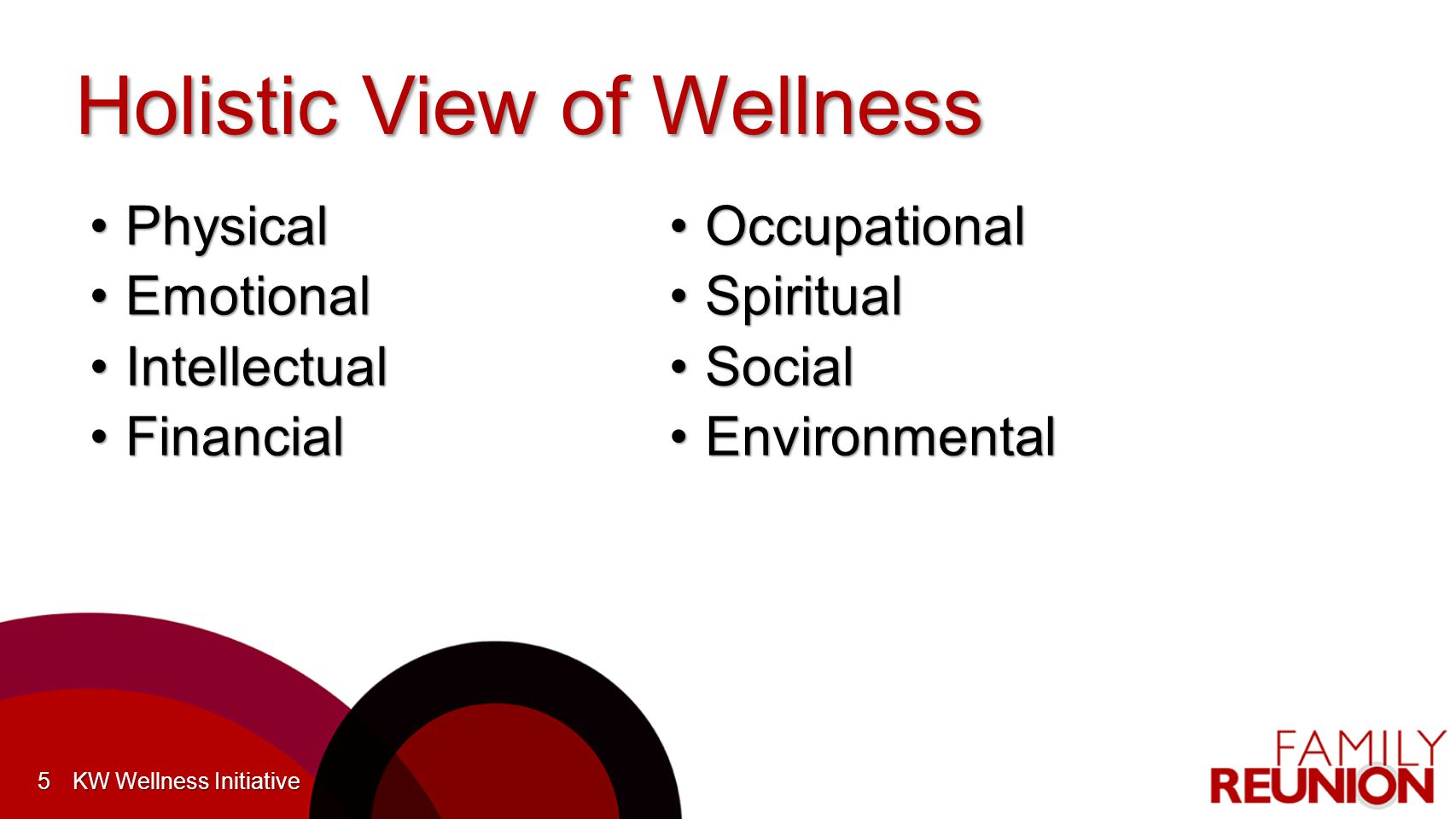 Holistic View of Wellness PhysicalPhysical EmotionalEmotional IntellectualIntellectual FinancialFinancial 5 OccupationalOccupational SpiritualSpiritual SocialSocial EnvironmentalEnvironmental KW Wellness Initiative