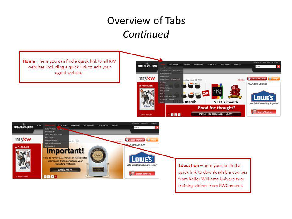 Overview of Tabs Continued Home – here you can find a quick link to all KW websites including a quick link to edit your agent website. Education – her
