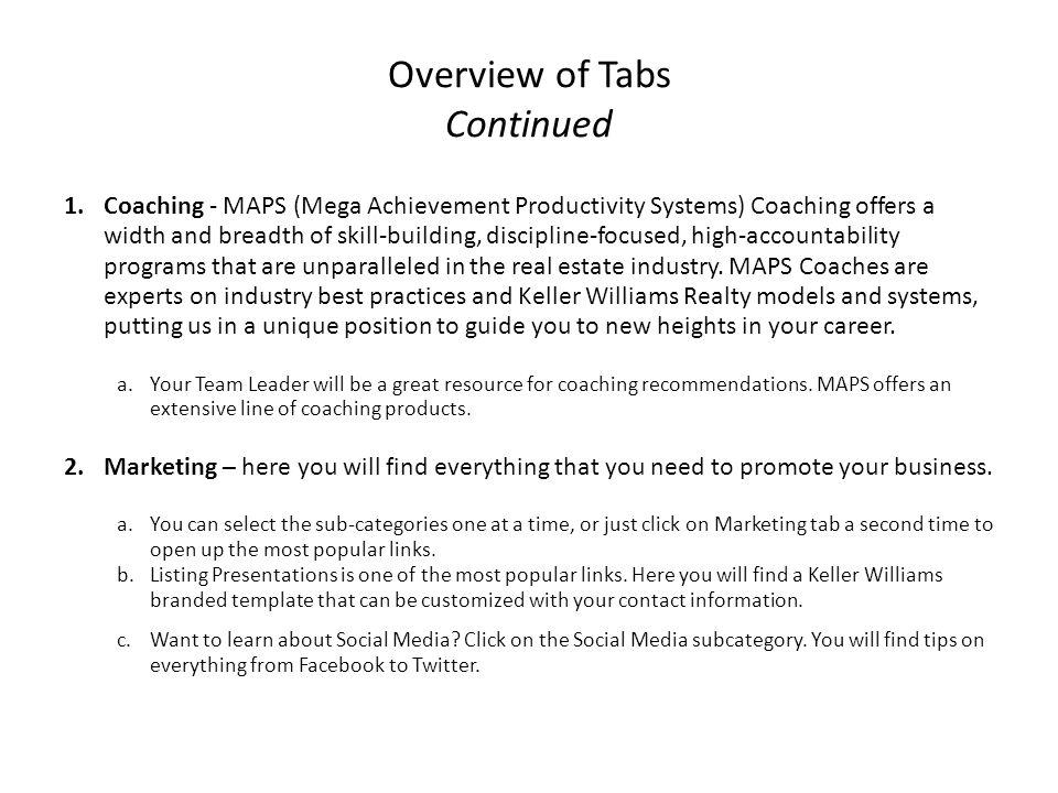 Overview of Tabs Continued 1.Coaching - MAPS (Mega Achievement Productivity Systems) Coaching offers a width and breadth of skill-building, discipline