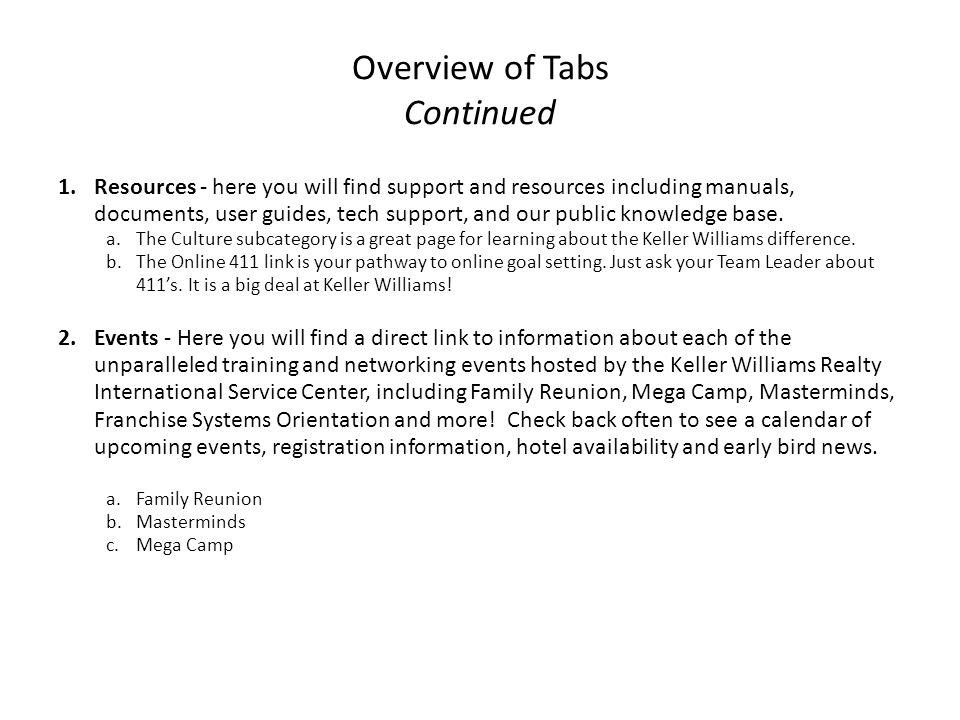 Overview of Tabs Continued 1.Resources - here you will find support and resources including manuals, documents, user guides, tech support, and our pub