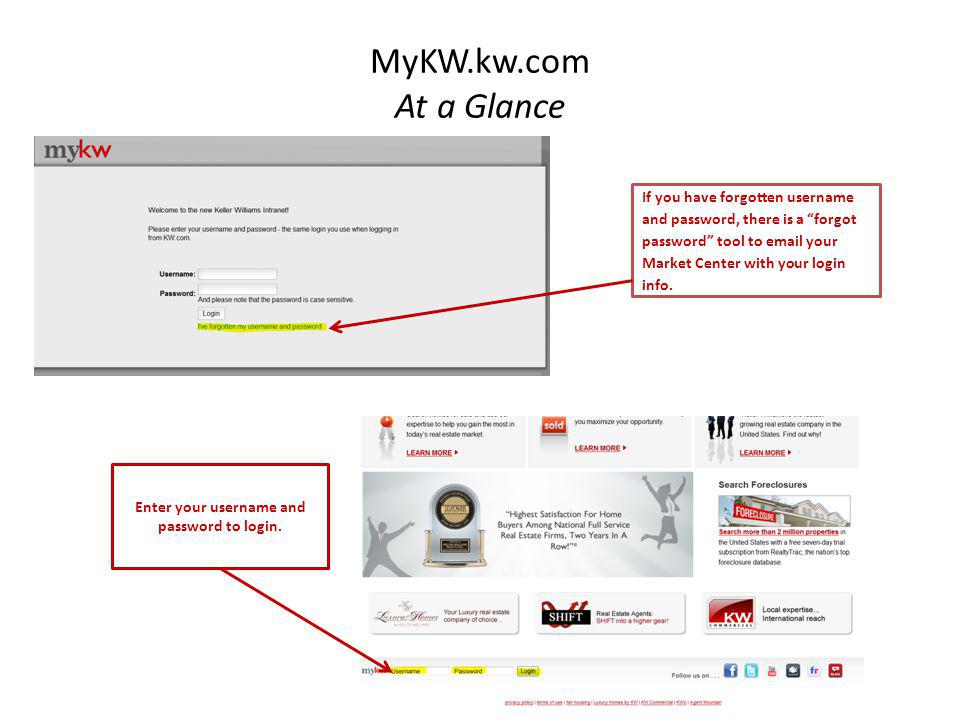 """MyKW.kw.com At a Glance If you have forgotten username and password, there is a """"forgot password"""" tool to email your Market Center with your login inf"""