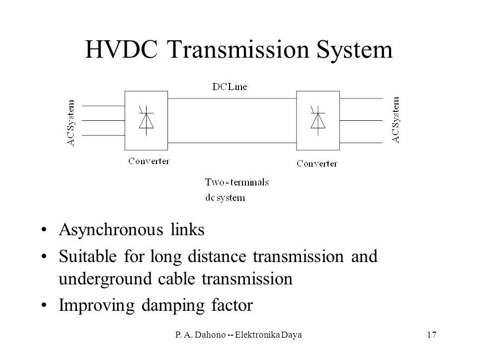 HVDC Transmission System Asynchronous links Suitable for long distance transmission and underground cable transmission Improving damping factor 17P.