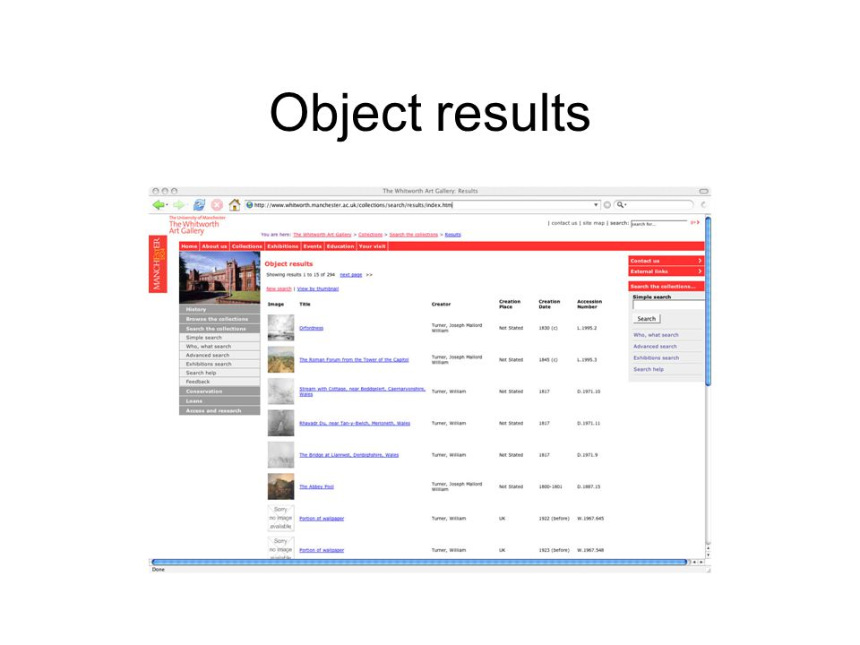 Object results