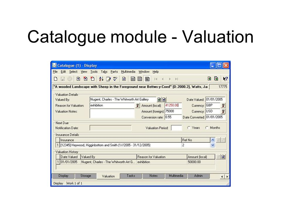 Catalogue module - Valuation